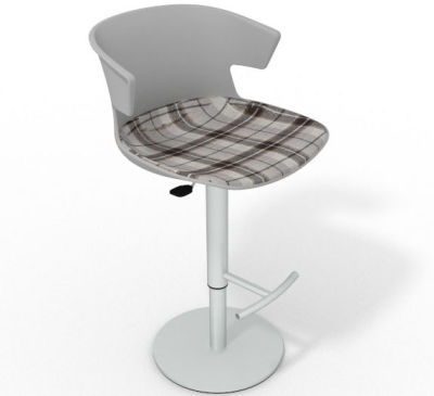 Elegante Height Adjustable Swivel Bar Stool - Large Feature Seat Pad Grey Brown