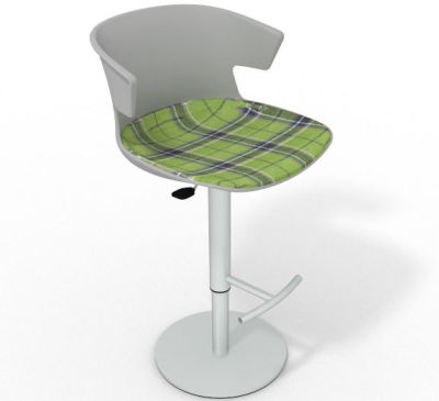 Elegante Height Adjustable Swivel Bar Stool - Large Feature Seat Pad Grey Green