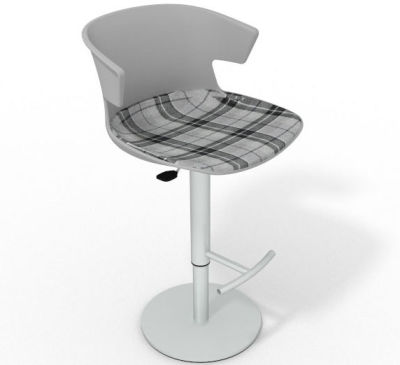 Elegante Height Adjustable Swivel Bar Stool - Large Feature Seat Pad Grey Grey