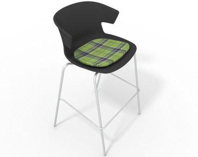 Elegante 4 Leg Bar Stool - With Feature Seat Pad Anthracite Green