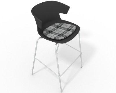 Elegante 4 Leg Bar Stool - With Feature Seat Pad Anthracite Grey