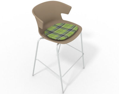 Elegante 4 Leg Bar Stool - With Feature Seat Pad Beige Green