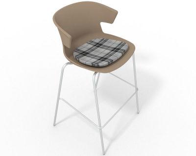 Elegante 4 Leg Bar Stool - With Feature Seat Pad Beige Grey