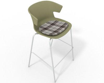 Elegante 4 Leg Bar Stool - With Feature Seat Pad Green Brown