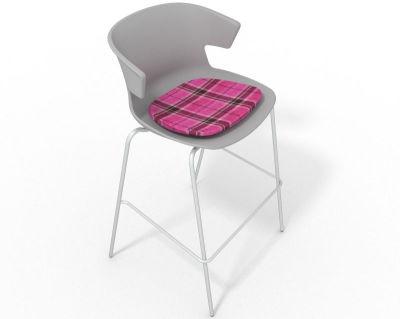 Elegante 4 Leg Bar Stool - With Feature Seat Pad Grey Pink