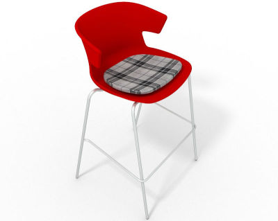 Elegante 4 Leg Bar Stool - With Feature Seat Pad Red Grey