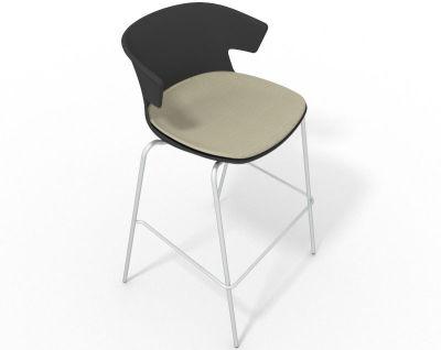 Elegante 4 Leg Bar Stool - With Large Seat Pad Anthracite Beige