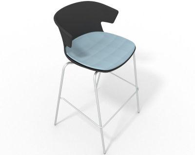 Elegante 4 Leg Bar Stool - With Large Seat Pad Anthracite Light Blue