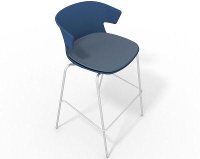 Elegante 4 Leg Bar Stool - With Large Seat Pad Blue Pidgeon Blue