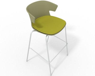 Elegante 4 Leg Bar Stool - With Large Seat Pad Green Light Green
