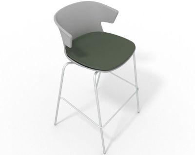 Elegante 4 Leg Bar Stool - With Large Seat Pad Grey Dark Green