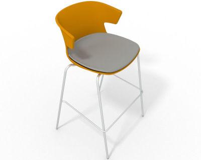 Elegante 4 Leg Bar Stool - With Large Seat Pad Ochre Grey