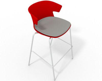 Elegante 4 Leg Bar Stool - With Large Seat Pad Red Grey