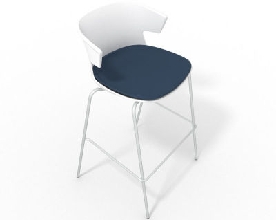 Elegante 4 Leg Bar Stool - With Large Seat Pad White Blue