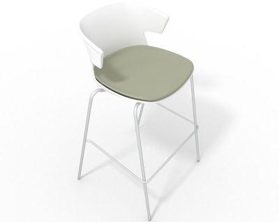 Elegante 4 Leg Bar Stool - With Large Seat Pad White Grey Olive