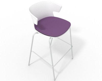 Elegante 4 Leg Bar Stool - With Large Seat Pad White Violet