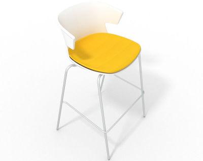 Elegante 4 Leg Bar Stool - With Large Seat Pad White Yellow