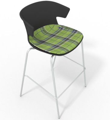 Elegante 4 Leg Bar Stool - With Large Feature Seat Pad Anthracite Green
