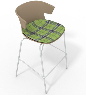 Elegante 4 Leg Bar Stool - With Large Feature Seat Pad Beige Green