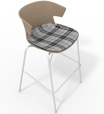 Elegante 4 Leg Bar Stool - With Large Feature Seat Pad Beige Grey