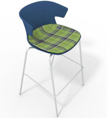 Elegante 4 Leg Bar Stool - With Large Feature Seat Pad Blue Green