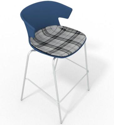Elegante 4 Leg Bar Stool - With Large Feature Seat Pad Blue Grey