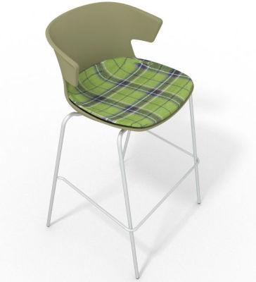 Elegante 4 Leg Bar Stool - With Large Feature Seat Pad Green Green