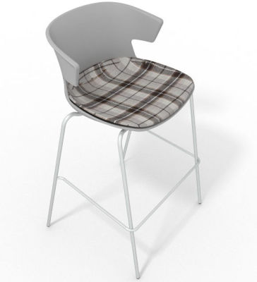 Elegante 4 Leg Bar Stool - With Large Feature Seat Pad Grey Brown