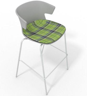 Elegante 4 Leg Bar Stool - With Large Feature Seat Pad Grey Green
