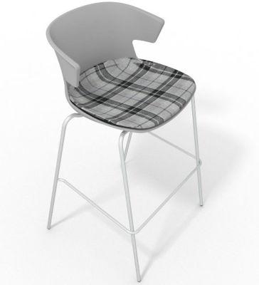 Elegante 4 Leg Bar Stool - With Large Feature Seat Pad Grey Grey