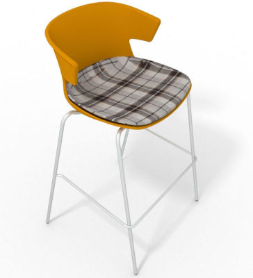 Elegante 4 Leg Bar Stool - With Large Feature Seat Pad Ochre Brown