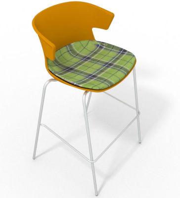 Elegante 4 Leg Bar Stool - With Large Feature Seat Pad Ochre Green