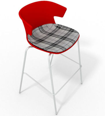 Elegante 4 Leg Bar Stool - With Large Feature Seat Pad Red Grey