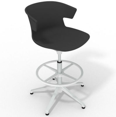 Elegante Height Adjustable Drafting Stool - Anthracite White