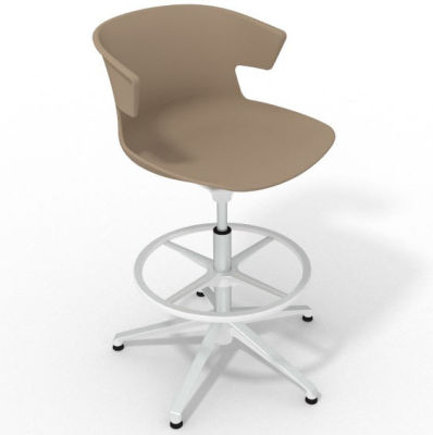 Elegante Height Adjustable Drafting Stool - Beige White