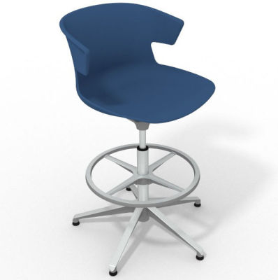 Elegante Height Adjustable Drafting Stool - Blue Aluminium