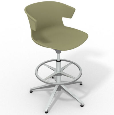 Elegante Height Adjustable Drafting Stool - Green Aluminium