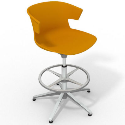 Elegante Height Adjustable Drafting Stool - Ochre Aluminium