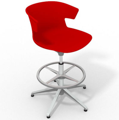 Elegante Height Adjustable Drafting Stool - Red Aluminium