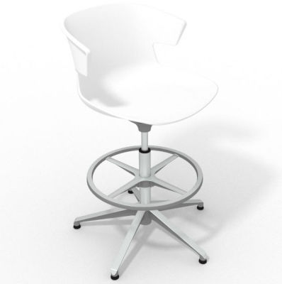Elegante Height Adjustable Drafting Stool - White Aluminium