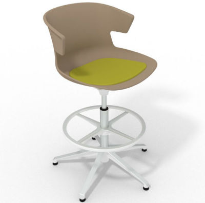 Elegante Height Adjustable Drafting Stool - With Seat Pad Beige Light Green White