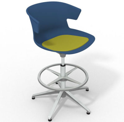 Elegante Height Adjustable Drafting Stool - With Seat Pad Blue Light Green Aluminium