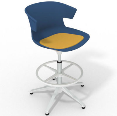 Elegante Height Adjustable Drafting Stool - With Seat Pad Blue Yellow White