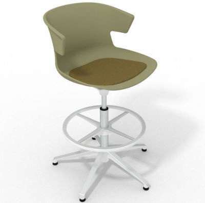 Elegante Height Adjustable Drafting Stool - With Seat Pad Green Olive Green White