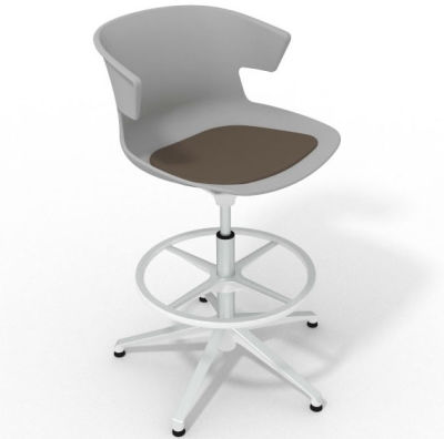 Elegante Height Adjustable Drafting Stool - With Seat Pad Grey Brown White