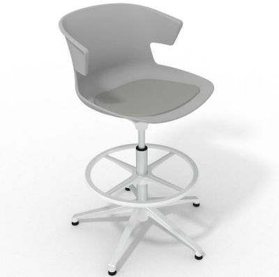 Elegante Height Adjustable Drafting Stool - With Seat Pad Grey Grey White