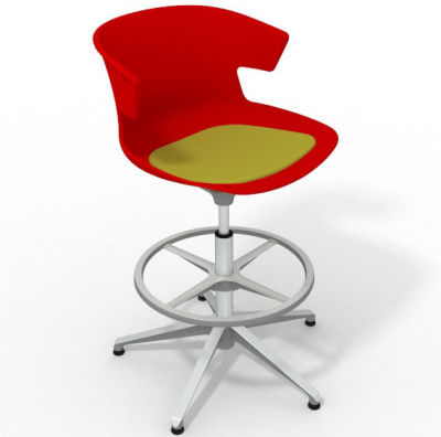 Elegante Height Adjustable Drafting Stool - With Seat Pad Red Light Green Aluminium