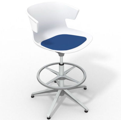 Elegante Height Adjustable Drafting Stool - With Seat Pad White Blue Aluminium