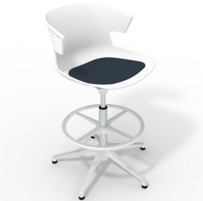 Elegante Height Adjustable Drafting Stool - With Seat Pad White Night Blue White