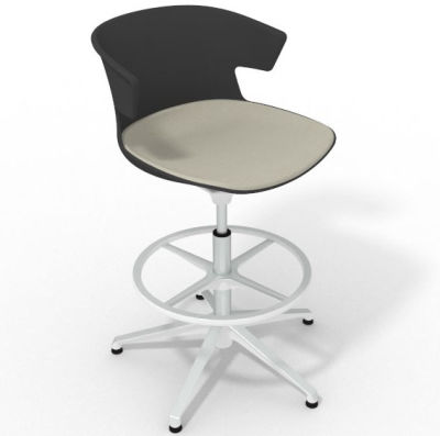 Elegante Height Adjustable Drafting Stool - With Large Seat Pad Anthracite Beige White